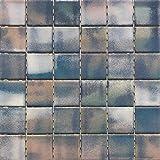 Mosaico sobre red de gres porcelánico de cerámica, fabricado en Italia – Le Polvo 109 Azul Rosa