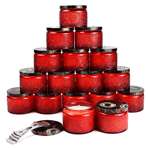 Ruby Red Embossed Glass Candle Container with Lid and Labels, 4 oz - Pack of 18