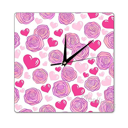 Mesllings Scale-Free Wall Clocks Pink Rose Pattern (2) Square Wall Clo