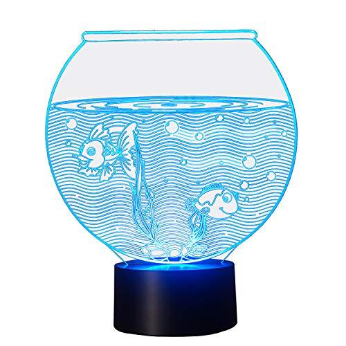 NIID 3D Illusion Nachtlicht LED-Licht 7 Farbe mit Touch-Schalter USB-Kabel Nizza Geschenk Home Office Dekorationen, Aquarium