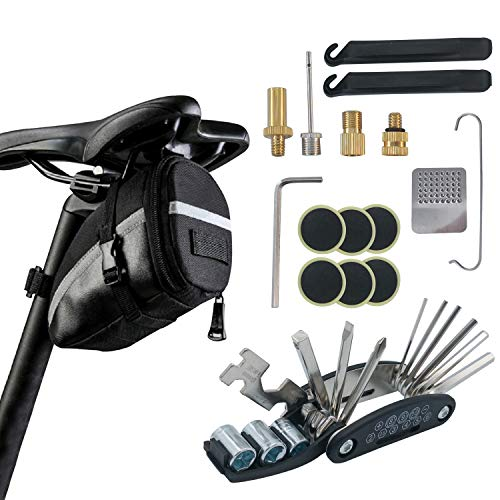 Bike Repair Tool Kits with Saddle Bag Bicycle Multi Tool Puncture Repair Kits includes Tyre Spoons Glueless Tyre Pads and Bicycle Valve Adapter for Mountain Bikes and Road Bikes