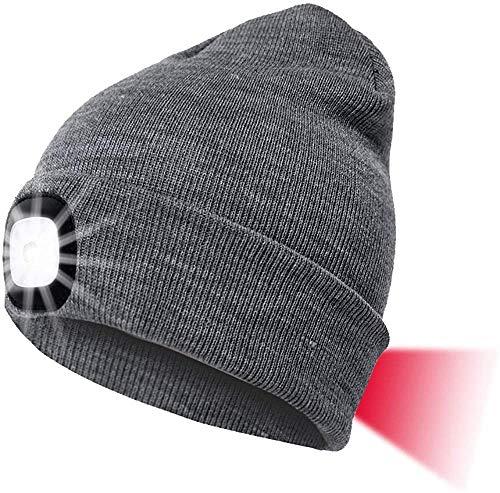 Sorfia LED Mütze Kappe Mit Vorne Hinten Licht, Herren Damen Kappe Strickmütze USB Nachladbare Lampe, 8 LED Beleuchtung und blinkende Warnungs-Arten, Winterwärmer Strickkappe Stirnlampe Laufmütze