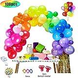 MMTX 100 Pcs Palloncini Compleanno 1 Anno Colorati, Palloncini Bomboletta Elio Per Addobbi per Feste di Compleanno, Nozze (Strumento per Legare, Catena di Palloncini,Coriandoli, Nastri)