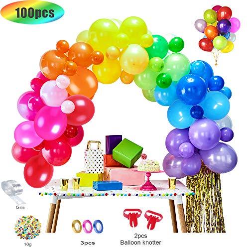 MMTX 100 Stück Luftballons Bunt Helium Luftballons Ballons für Geburtstag Deko Party Halloween Weihnachten Hochzeitsfeiern (2 Luftballons Bindewerkzeug + 5M Luftballonkette + 10g Konfetti + 3 Bänder)