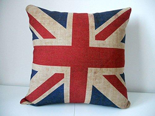La Unión Jack Bandera de Reino Unido Cotton Linen Cuadrado Manta Decorativa Funda de Almohada Funda para cojín 18