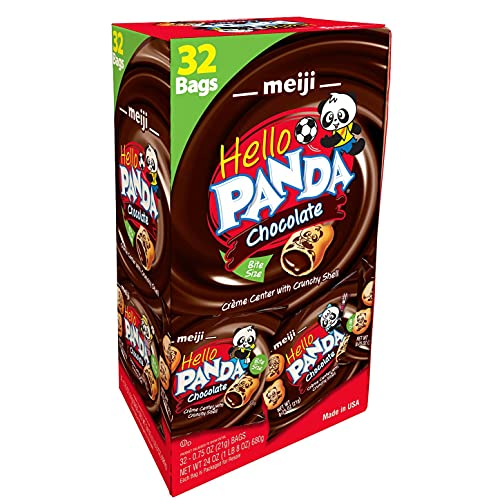 Meiji Hello Panda Cookies, Chocolate Crème Filled - 32 Count, 0.75oz Packages - Bite Sized Cookies with Fun Panda Sports