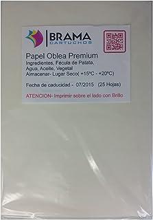 comprar comparacion Bramacartuchos 25 Hojas Papel DE OBLEA Premium con UN Grosor DE Approx 0.7mm (Papel DE ARROZ) para Tinta Comestible