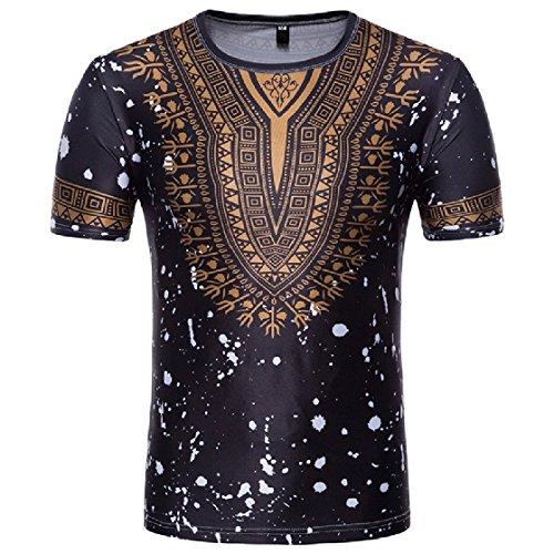 DressUMen Crew 3d de dashiki africana cuello trible impresos camisetas de manga corta para Hombres Negro Medio