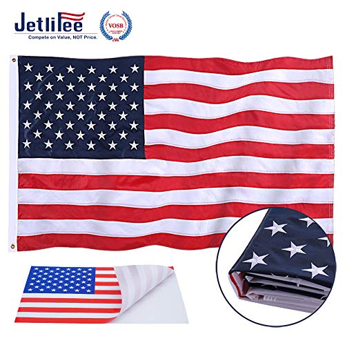 Jetlifee American Flag 2.5x4 Ft Embroidered Stars, Sewn Stripes, Brass Grommets US Flag Decorations, Outdoors Indoors USA Flags Polyester 2.5 x 4 Foot