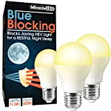 MiracleLED 604592 Miracle LED Blue Blocking Night Time Sleep Bulb Replacing Up To 60W to Replicate Setting Sun and Produce Melatonin Organically, Soothing Amber (Pack of 2)