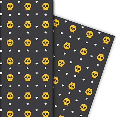 Kartenkaufrausch Cool Halloween cadeaupapierset met hart en bot voor leuke geschenkverpakking, 4 vellen, 32 x 48 cm universeel pakpapier om mooier te schenken, knutselen, scrapbooking
