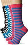 FM London Bamboo Calcetines, Multicolor (Stripes & Dots Dark 10), Talla única (Talla del fabricante: UK 4-8 EU 37-42) (Pack de 6) para Mujer