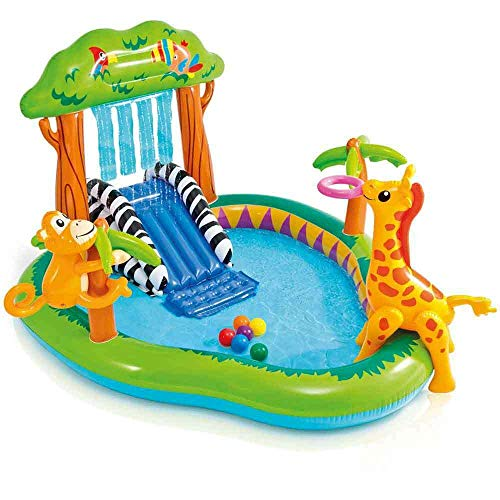INTEX Aufblasbarer Pool, Kinderpool Spielcentrum Dschungel, 57155NP