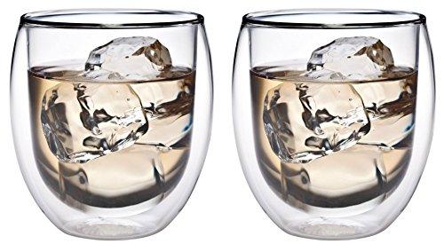 AKTION: 2x 320ml doppelwandiges Thermoglas mit Schwebe-Effekt, Teeglas / Kaffeeglas für Cappuchino, Milchkaffee, Tee, Eistee, Schorle, Desserts oder als Eisbecher geeignet, 32R by Feelino …