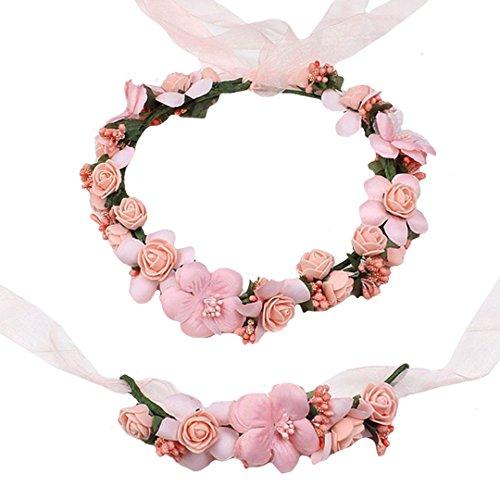 AiSi - Corona de flores con pulsera, banda para la muñeca, cinta para el pelo, corona de...
