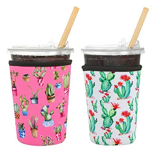 Creatyi 2 PCS Reusable Iced Coffee Sleeve Hot Coffee Sleeve Neoprene Cup Holder Drinks Sleeve Perfect for Your Coffee Drinks (22-25 oz Medium, Flamingo and Cactus)
