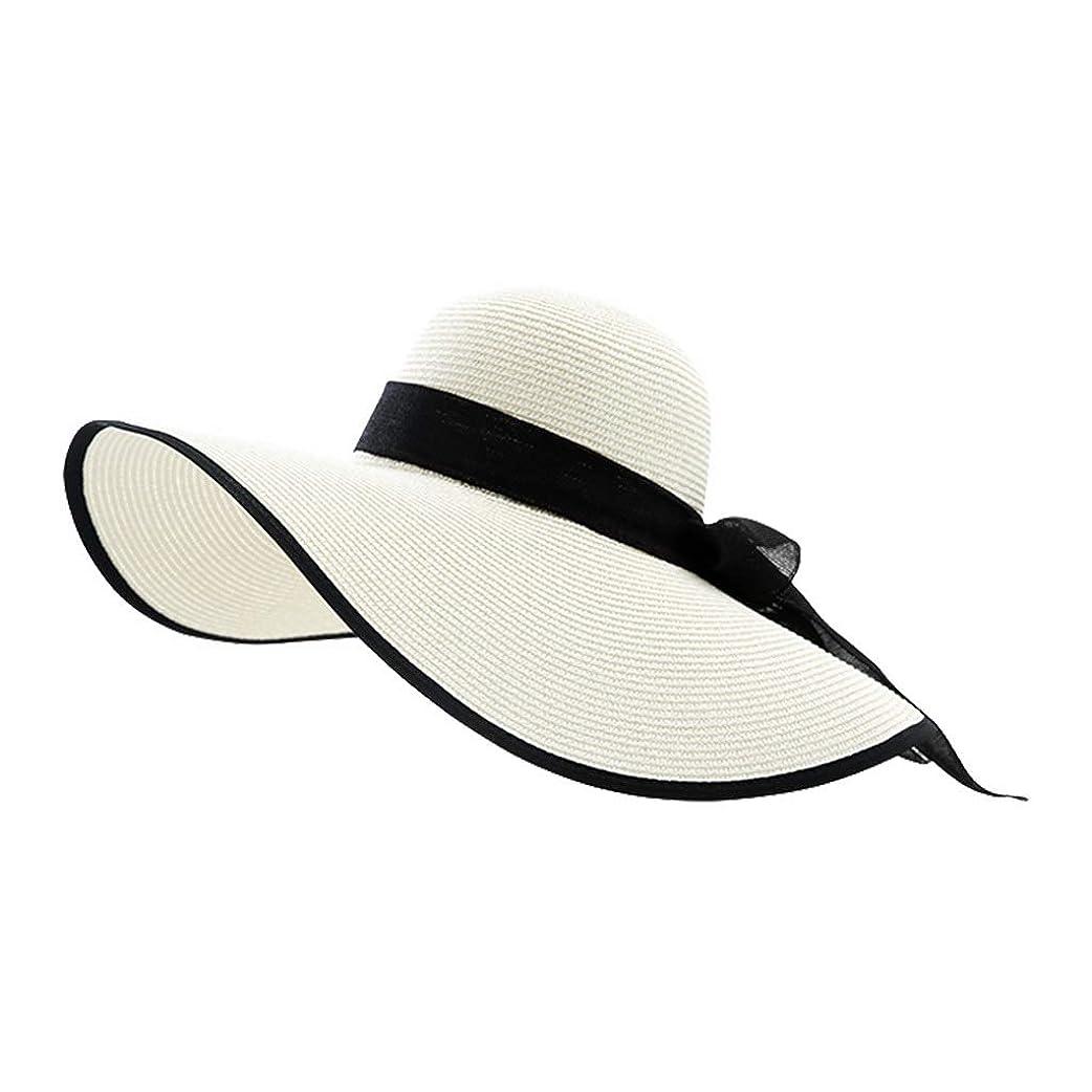 UVカット帽子 太陽の帽子わら広いつばの弓の女性の太陽の帽子ビーチサンシェード折りたたみ式調節可能なUV春夏の太陽の帽子 UVカット帽子 (Color : 白, Size : Head circumference57-61cm)