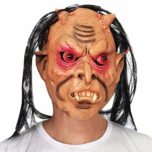 Tatoonly Kongqiabona-UK Máscara de Pelo Gris de Ojos Rojos de Halloween para el Rendimiento de la Etapa de Carnaval de Halloween
