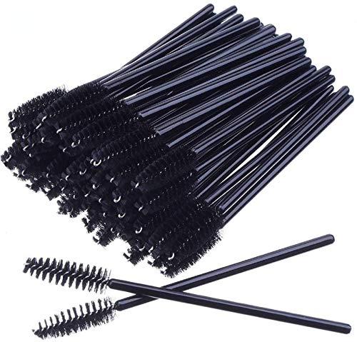 MSQ 50 Stück schwarz Wimpernbürsten Einweg Farbe, Kosmetik Pinsel für Wimpern und Augenbrauen, Mascara Zauberstäbe für Beauty-Salon und Hausgebrauch (schwarz)