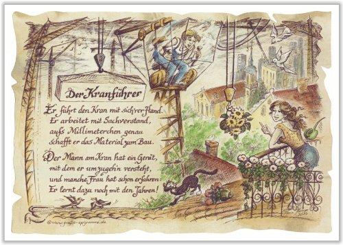 Geschenk Kranführer Kranfahrer Präsent Zeichnung Color 30 x 21 cm