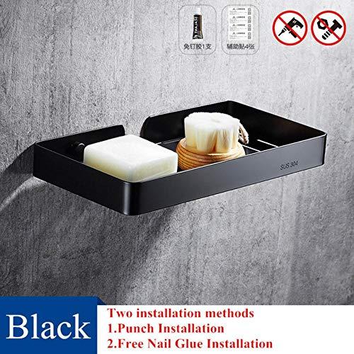 XCVB Wandmontage Roestvrijstalen toilet Zeepkist Badkamer Zeepbakje Polish/Borstel/wit/Zwart Badplank Douchebak voor douche, Zwart