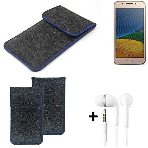 K-S-Trade Filz Schutz Hülle Für Lenovo Moto G5 Single-SIM Schutzhülle Filztasche Pouch Tasche Handyhülle Filzhülle Dunkelgrau, Blauer Rand Rand + Kopfhörer