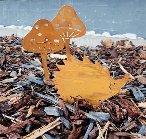 Herbst Deko Set Rost Stecker 2 x Pilz und 1 x Igel Garten Dekoration