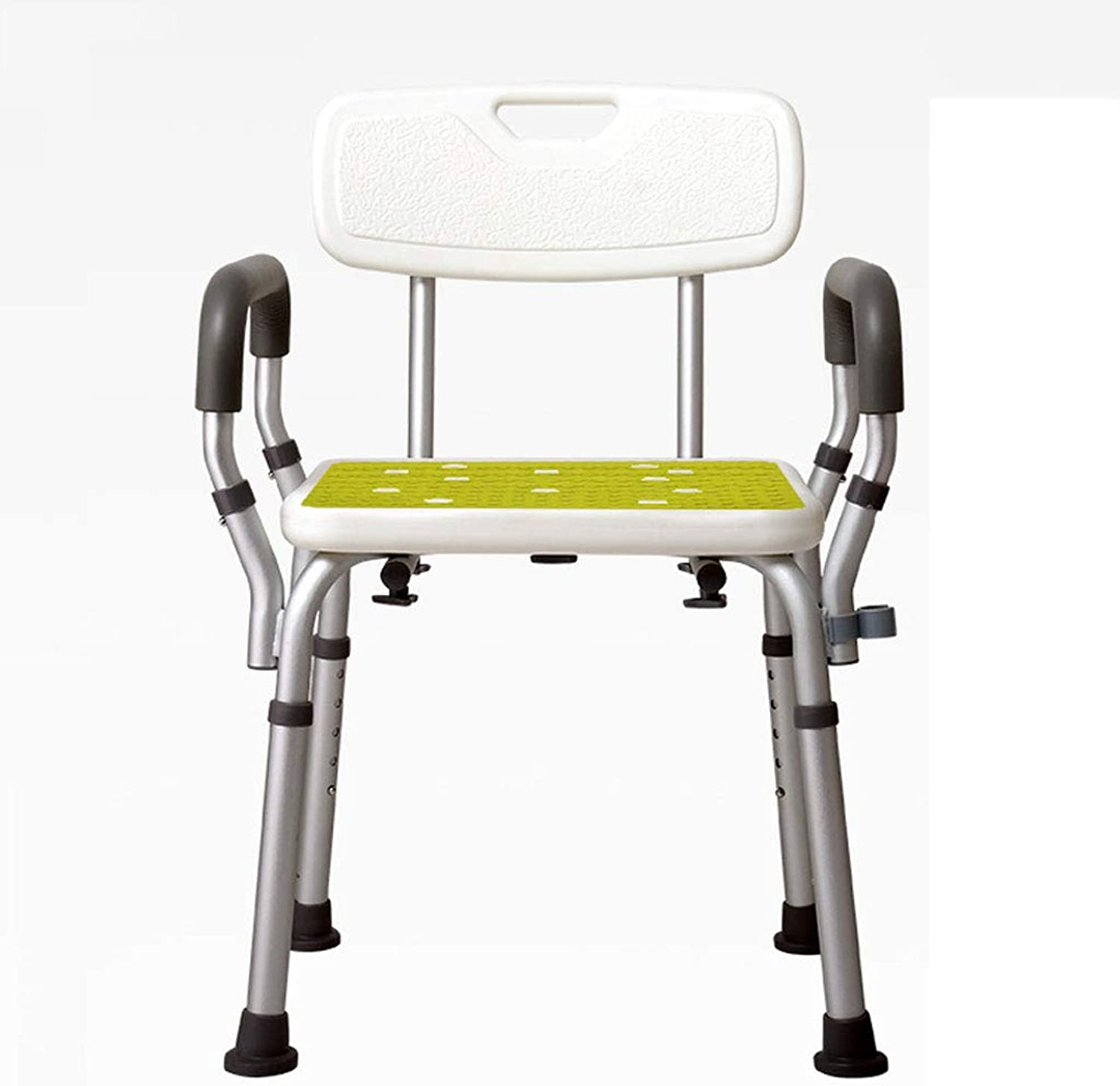 Aluminum Shower Bench, Adjustable Bathroom Stools and Benches with Removable Back & Handle