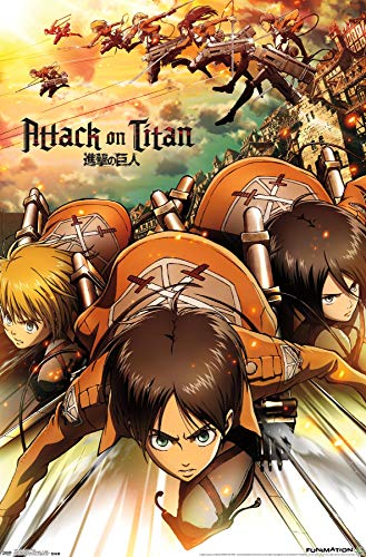 Trends International Attack On Titan Cartoon Attack Wall Poster 22.375' x 34'