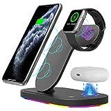 LAHappy 15W Chargeur sans Fil Rapide, 3 en 1 Qi Compatible Wireless Chargeur pour Apple Watch...