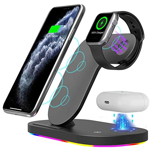 LAHappy Wireless Charging Station, 3 in 1 15W Wireless Charging Stand for iPhone 12 Mini/12 Pro Max/11/SE 2020/Xs Max/XR/X/8 Plus, Samsung Galaxy Note 20/10+/9/8/S20/S10+ Apple Watch Airpods