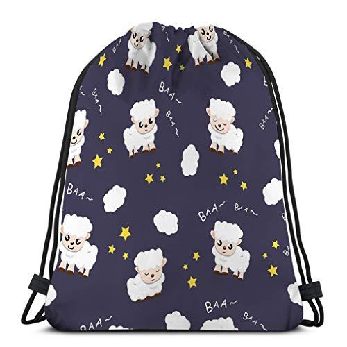 Jiuerlius2 Man Women Drawstring Bag Lightweight Sheep Sleeping Sweet Dream Fabric Animal Cartoon Collection Texture Using Kids Sheep Prints