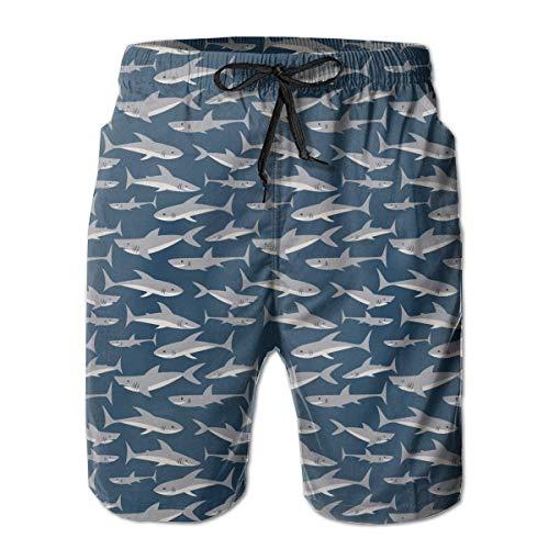 yting Niedlicher Haifisch-Druck Eco freundlich Herren Badehose Quick Dry Badeanzug Sommerurlaub Strand Shorts mit Taschen,Größe L