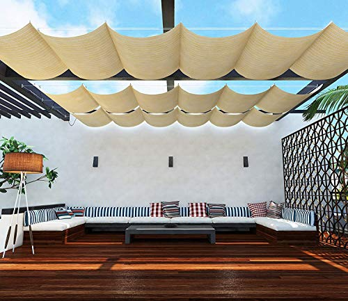TANG Upgraded Slide on Wire Canopy Retractable Awning Replacement Cover for Pergola Terrace Deck Patio Porch Restaurant Cafe' Beige 7'X16'