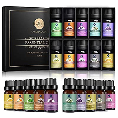 Lagunamoon Essential Oils,Top 10 Pure Aromatherapy Oils Gift Set