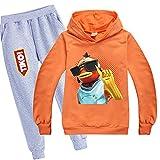 Tiko Merch Fishy on Me - Sudadera con capucha y pantalones para niños y niñas, naranja, 12 años