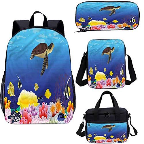 Ocean 15' School Backpack & Lunch Bag Set,Deep Sealife Fish Moss Bookbags 4 in 1
