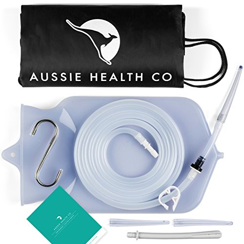 Aussie Health Co Non-Toxic Silicone Enema Bag Kit. 2 Quart Capacity. BPA & Phthalates Free. for at Home Water & Coffee Colon Cleansing. Clear Color. Includes Instruction Booklet.