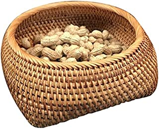 PR Rattan Fruit And Vegetable Storage Hand-Woven Storage Basket Bread Basket Snack Gift Basket Dry Small Basket Storage Bo...