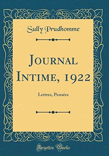 Journal Intime, 1922: Lettres, Pensées (Classic Reprint)
