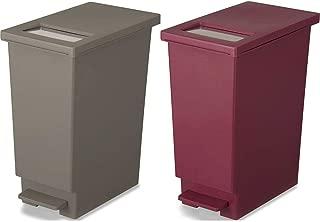 トンボ ユニード ゴミ箱 プッシュ & ペダルペール 45L 2個セット (ブラウン×ワインレッド, 45L)