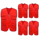 5 Packs Supermarket Work Vest Volunteer Activity Event Waistcoat with Pockets-Red-XXL