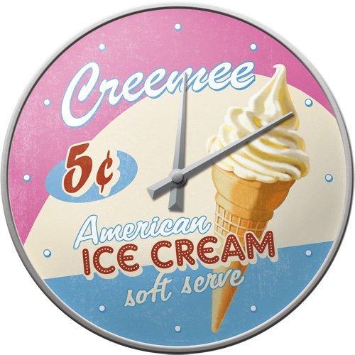 Nostalgic Art Retro Wanduhr, Große Küchenuhr, USA - Ice Cream, Ø 31 cm