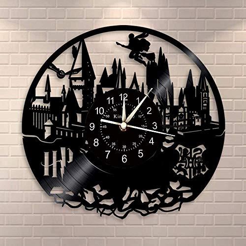 Smotly Vinyl Wanduhr, kreativ Retro Harry Potter Design Wanddekoration große Uhr, handgemachte Wanduhr Geschenk,B