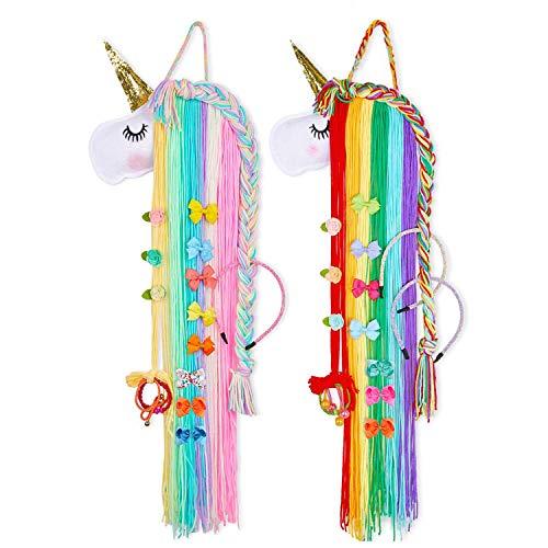 GUIFIER 2 Piezas Unicornio Pinza Pelo Organizador, Unicorn Hair Bow Holder Pinzas para el Cabello Organizador Horquillas, niñas Habitación Accesorios