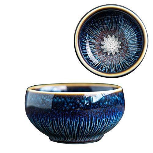 Taza china de Lotus de la cerámica, taza principal de la taza de té de Kungfu con incrustaciones de loto de plata de la taza 3D