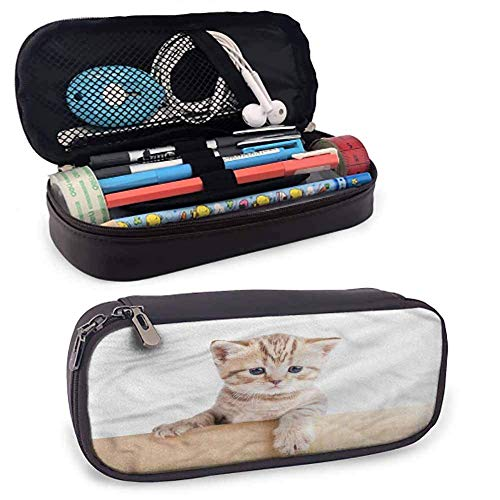 XCNGG Cat PU Leather Zipper Pouch, Scottish Fold Kitten Cardboard Durable Double Zipper 8'x3.5'x1.5'