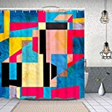 Yoliveya Wasserdichter Duschvorhang,grafischer Abstrakter Hintergr& Verschiedene Elemente,Drucken von Badvorhängen mit 12 Haken 150x180cm