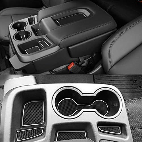 Auovo 27pcs Anti-dust Mats for Chevy Silverado 1500/GMC Sierra 1500 Accessories 2019-2021 Interior Car Cup Holder Inserts,Center Console,Door Pocket Liner Mat (Crew Cab, Split-Bench Seat) (White)