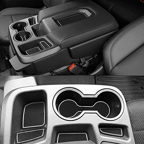 Auovo 27pcs Anti-dust Mats for Chevy Silverado 1500/GMC Sierra 1500 Accessories 2019-2021 Interior Car Cup Holder Inserts,Center Console,Door Pocket Liner Mat (Crew Cab, Split-Bench Seat) (White)